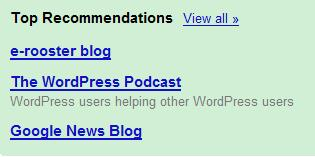 Google Reader Recommendations